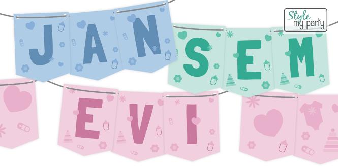 Nieuw: Slingers voor een kraamfeest of babyshower
